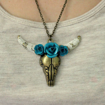 Cow Skull Necklace, Southwestern Jewelry, Shabby Chic, Rustic Necklace, Animal Skull Necklace, Southern Belle Necklace, Desert Dweller Neck