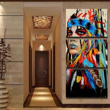 3 Panel Unframed Canvas Art Printed The American Indian Feathered Painting Canvas Print Wall Decor Print Poster Picture