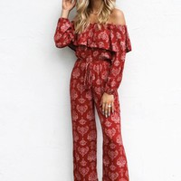Your Direction Paisley Off Shoulder Long Sleeve Jumpsuit