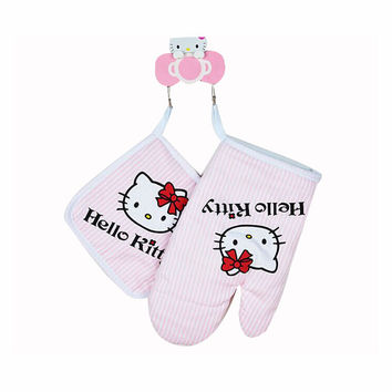 1SET Hello kitty Kitchen Cooking Microwave oven insulation Gloves Insulation Pads Cotton Thickening Non-slip Gloves D0