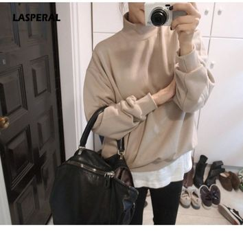 LASPERAL 2017 Hot Sale Women Hoodies Casual T-Shirt Coat Outfit Tops Harajuku Style Tops Camisa Candy Color Long Sleeve Pullover