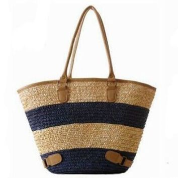 Womens Straw Summer Weave Woven Shoulder Tote Shopping Beach Bag Purse Handbag Straw Beach Bags