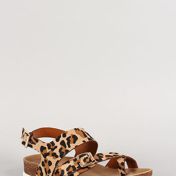 Breckelle Leopard Buckle Toe Ring Footbed Flat Sandal