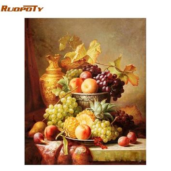 RUOPOTY Frame Picture DIY Painting By Numbers Fruit Wall Art Painting Hand Painted Acrylic Paint By Numbers For Home Decor Arts