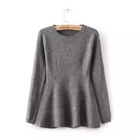 Plain Long-Sleeve A-Line Knitted Shirt