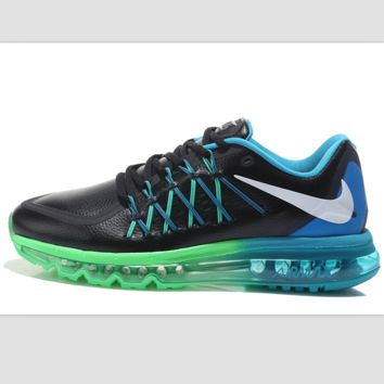 """NIKE"" knitting fashion casual men shoes running shoes breathable couple shoes Black(blue+green sole)"
