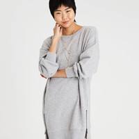 AE ACTIVE BALLOON SLEEVE FLEECE ZIPPER DRESS, Heather Gray