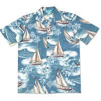 sail teal hawaiian cotton shirt