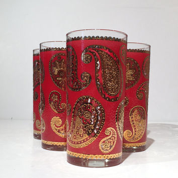 Culver Glass Tumblers Red and Gold Paisley, Set of 7 Culver Tumblers, Mid Century Barware, Vintage Culver Red and Gold Paisley Barware
