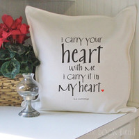 i carry your heart cotton pillow cover by BookFiend on Etsy