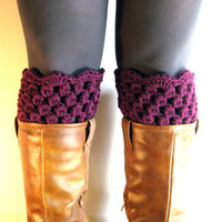 Boot Cuffs Purple Lace Boot Toppers Grape Jelly  Bootcuffs Crochet Leg Warmers Sock Tops