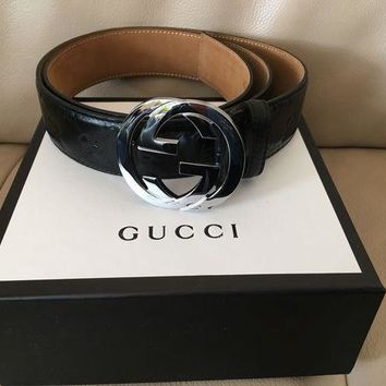 DCCKONG6 Authentic New Gucci Guccissima GG Buckle Belt Size 100cm 34-36 Waist