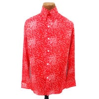 Unworn Vintage 70s Disco Shirt Mens Long Sleeve Pointy Collar Shirt Red NOS Stretch Knit Shirt size Large