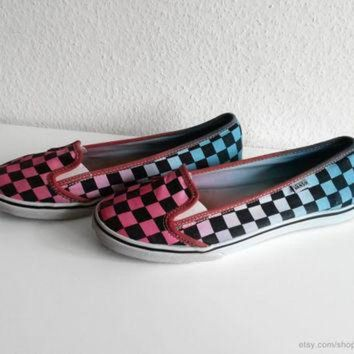 CREYONS Vans KVD lightweight slip on sneakers, deep pink & soft turquoise upcycled checkerboar