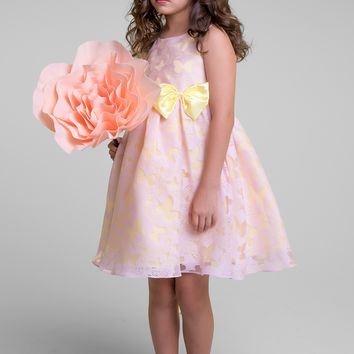 Pink & Yellow Contrasting Color Butterfly Organza Burnout Girls Dress 2T-14