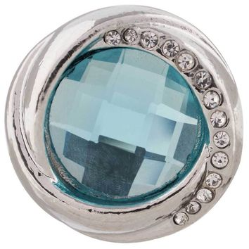 "Snap Charm Aquamarine Stone Clear Crystal Border 20mm 3/4"" Diameter Fits Ginger Snaps"