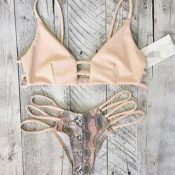Sexy Hollow out Snake Print Bikini