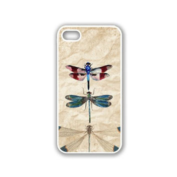 Vintage Dragonflies Retro iPhone 5 White Case - For iPhone 5/5G White Designer Plastic Snap On Case