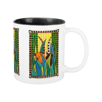 Hide And Seek - Whimsical Cat Art Two-Tone Coffee Mug