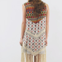 Desert Blooms Vest With Crochet Panels & Fringe