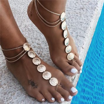 Round Carving Flower Coins Anklet Barefoot Sandals