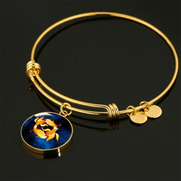 Zodiac Sign Pisces - 18k Gold Finished Bangle Bracelet