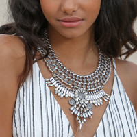 Dylan Rhinestone Silver Statement Necklace