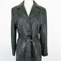 Nine West Mid Length Leather Duster Trench Coat M