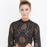 ARTESIAN DREAM LACE CROP TOP - BLACK