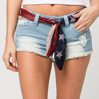 ALMOST FAMOUS PREMIUM American Sash Womens Denim Shorts | Shorts