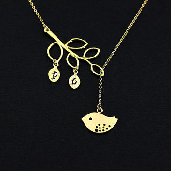Mother Necklace, gold  Love  Birds with two leaves Bird Initial Charms, Personalized Necklace, Gift for Mom, Family Jewelry