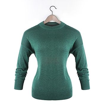 Women's Casual Work Long Sleeve Knitwear Medium Pullover