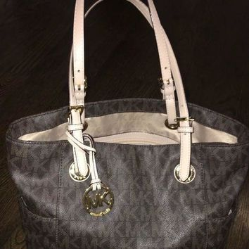 DCCKIN4 Michael Kors Brown Signature Leather 'MK' Logo Tote Bag