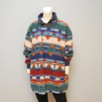 Vintage Sweatshirt 1990's Oversized Fleece Pullover Size Medium Jacket Aztec Bohemian Pattern Southwestern Print Turtleneck Sweatshirt