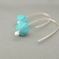 Turquoise Blue Melon Czech Glass Sterling Silver Contemporary Drop Earrings | The Silver Forge Handcrafted Jewellery