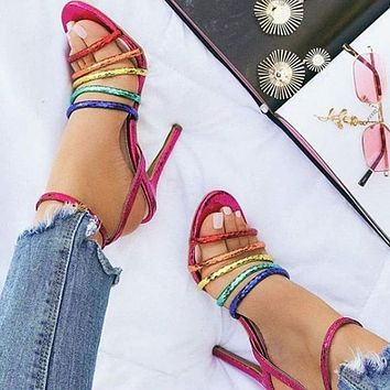 Fashion Seven-color Sandals Summer Ribbon Combination Fishmouth Slim High-heeled Shoes