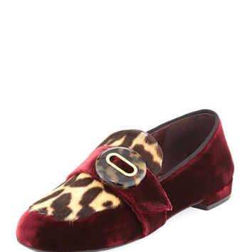 Prada Velvet Leopard-Print Loafer, Dark Red