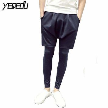 #1613 2018 Space cotton Sweat pants Leggings Faux two piece Hip hop pants Skinny Streetwear Joggers men women Compression pants