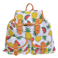 Graphic Pineapple and Watermelon Backpack Purse