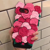 New Cute Rose Silica gel Case For iPhone 6 Soft  Back Cover Shell For iPhone6 6s Plus coque iphone 6 case silicone Cases