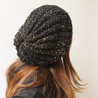 Women's Knit Hat Winter Hat Slouchy Beanie Hat - Tweed Black Beret / Chunky /Baggy / Beanie