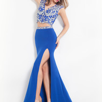 V-neck With High Slit Formal Prom Dress By Rachel Allan 6927