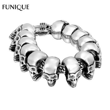 FUNIQUE Men Bracelet Jewelry 316 Stainless Steel Skull Bracelet Gothic Men Bangle Bracelet Punk Chain Bracelet For Men Jewelry