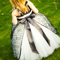 Elegant Ivory Tutu Dress with Black Lace Overlay
