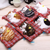 Lovely Simulation Animal Doll Plush Sleeping Cats Toy with Sound Kids Toy Birthday Gift Doll Decorations stuffed toys Cat Mat