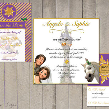 Wedding invitation Set Tangled - Save the Date, Invitation, RSVP - Digital file