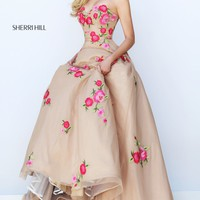 Strapless Rosette Embellished Gown by Sherri Hill