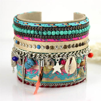 Handmade Macrame Knotted Colour Candy Wide Woven Friendship Bracelet
