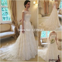 EW076 Fashionable Vestidos De Novia Sexy Scoop Cap Sleeves A-Line Romantic Lace Wedding Dresses Vintage Style Ivory Wedding Gown