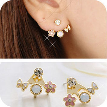 Floral Lovely Butterfly Diamonds Hot Sale Earrings [10417791956]